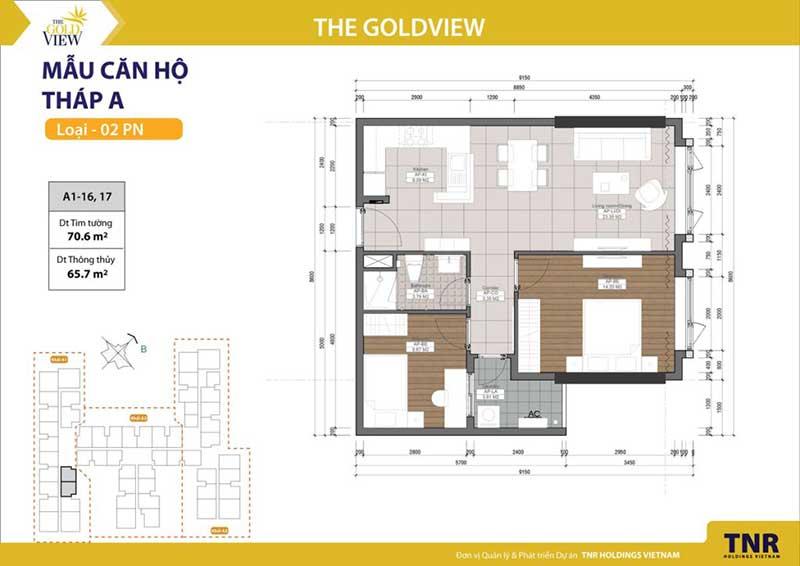 Mặt bằng Gold View 2 phòng ngủ