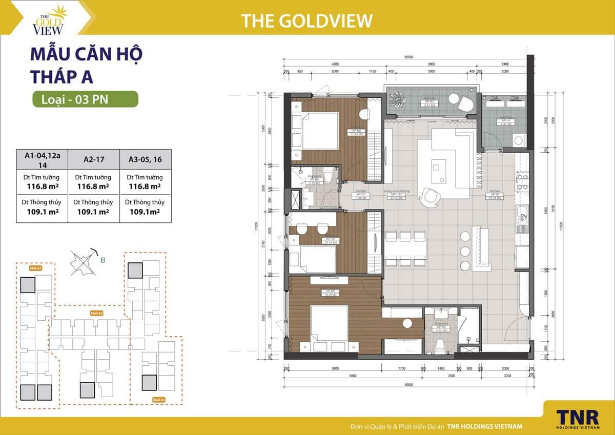 mặt bằng gold view 3 phòng ngủ