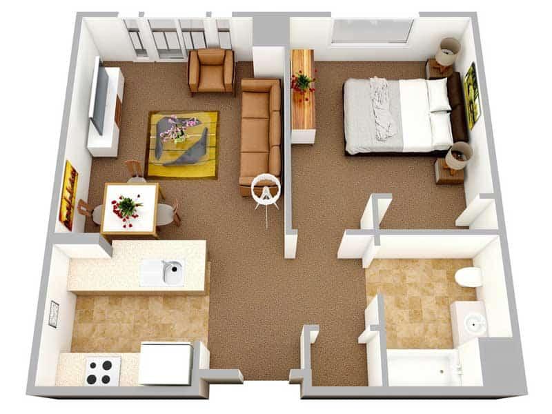 Mặt bằng căn hộ The Manor 1 phòng ngủ