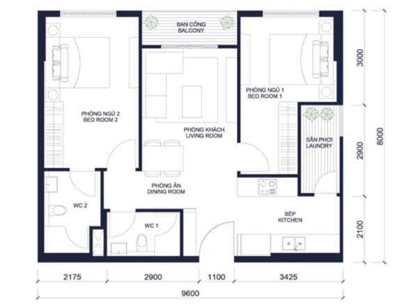 Layout căn hộ Millennium 2 phòng ngủ