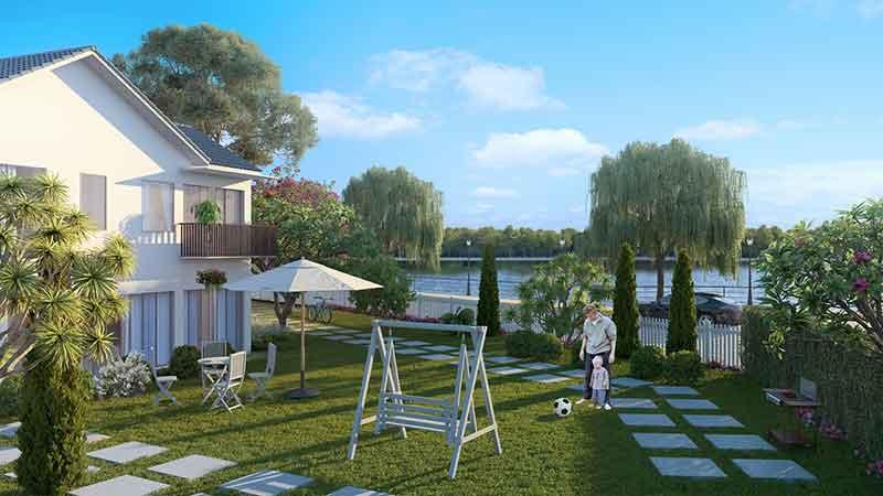Khuôn viên biệt thự Vincity Grand Park ven sông