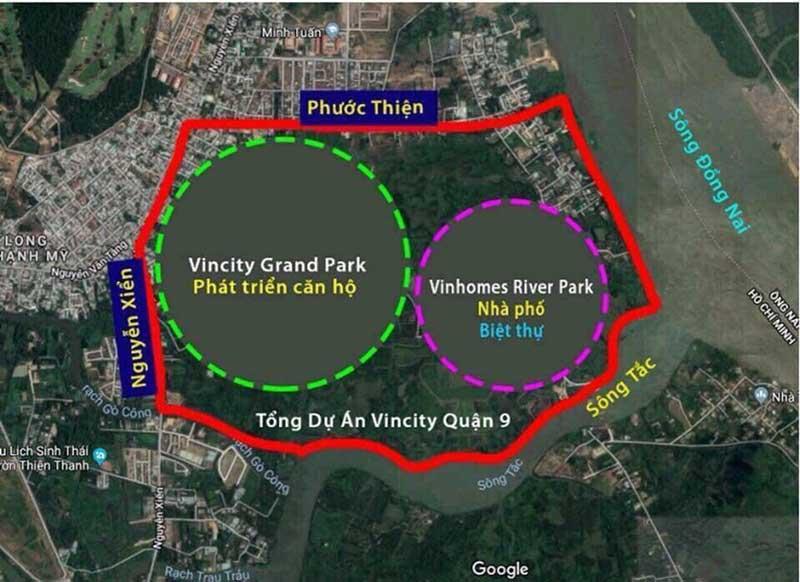 Vị trí dự án Vincity quận 9