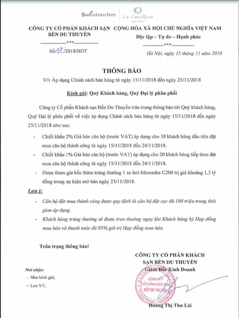 Chính sách bán hàng dự án La Luna Nha Trang