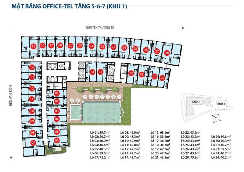 Mặt bằng Officetel Saigon Royal