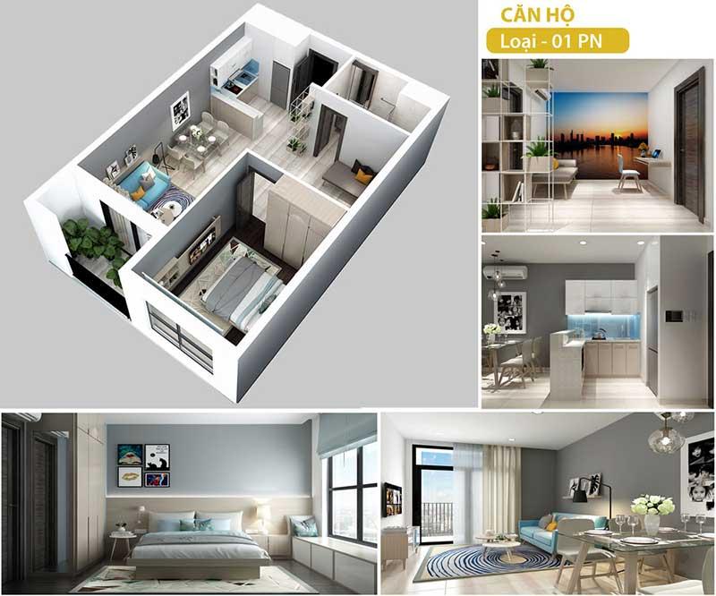 Mặt bằng căn hộ Hà Đô 1 phòng ngủ