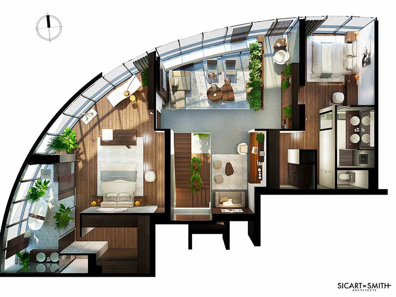 Layout Penthouse City Garden