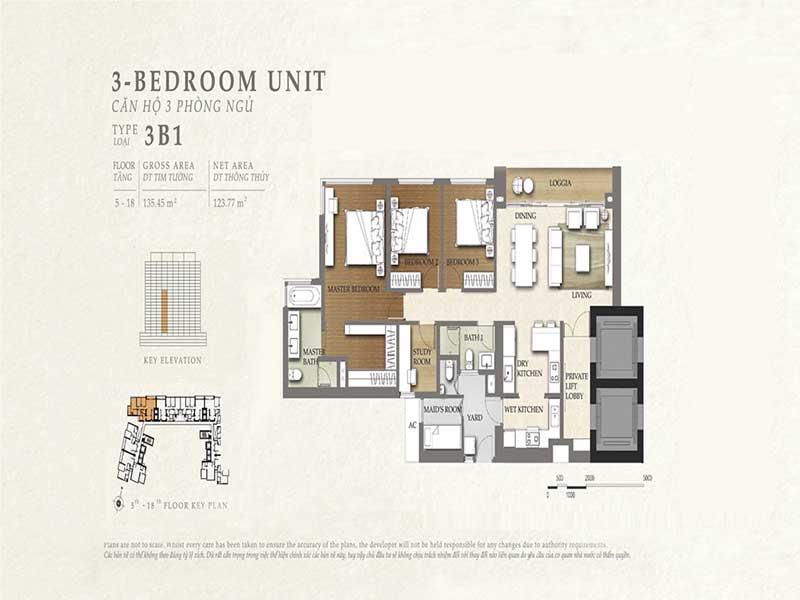 Mặt bằng The Nassim 3 phòng ngủ