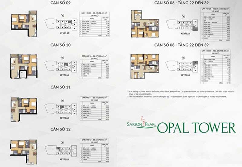 Mặt bằng căn hộ Opal Saigon Pearl