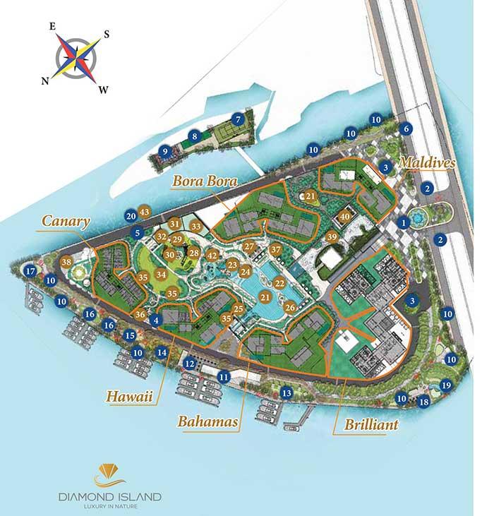 Mặt bằng tổng thể căn hộ Đảo Kim Cương cho thuê