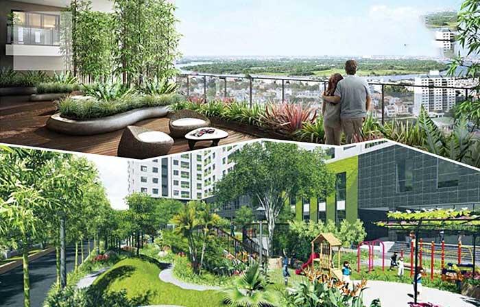 View nhìn từ căn hộ Palm Garden