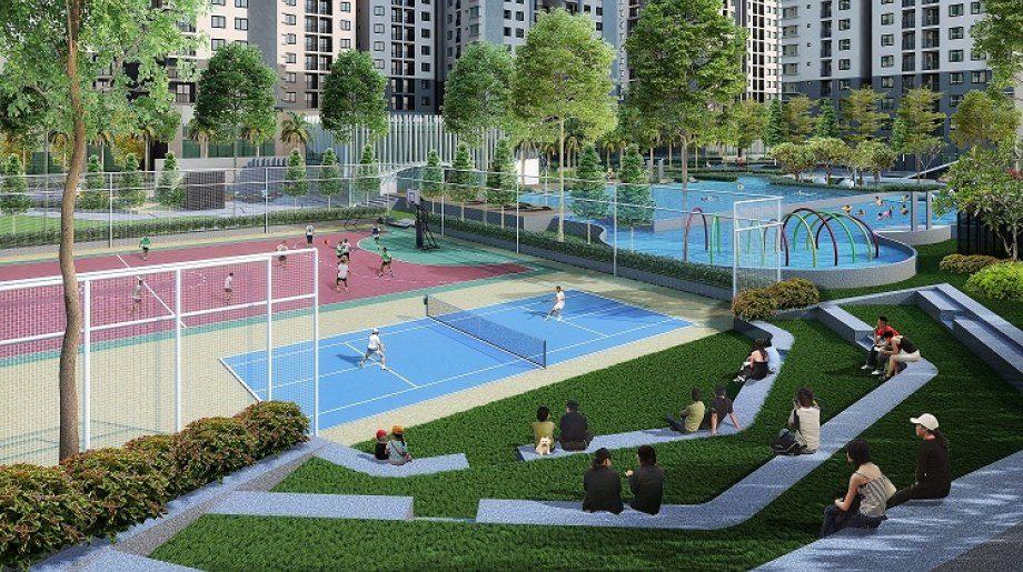 Sân tennis bên trong chung cư dự án căn hộ Làng Đại Học