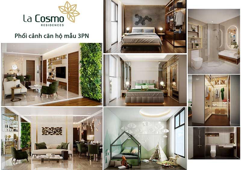 Phối cảnh căn hộ 3 phòng ngủ La Cosmo