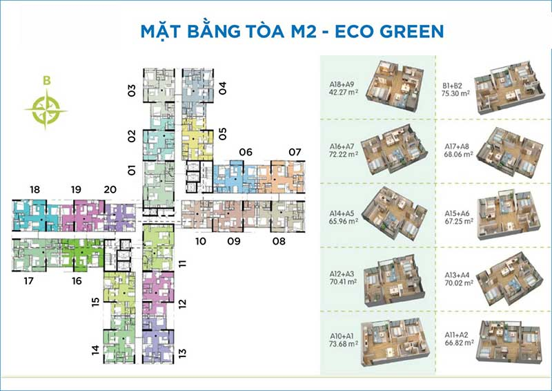 Mặt bằng tòa M2 Eco Green