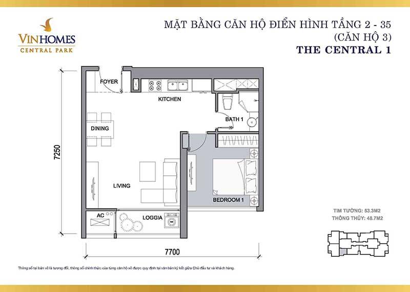 Mặt bằng căn hộ 1 phòng ngủ Vinhomes Central Park