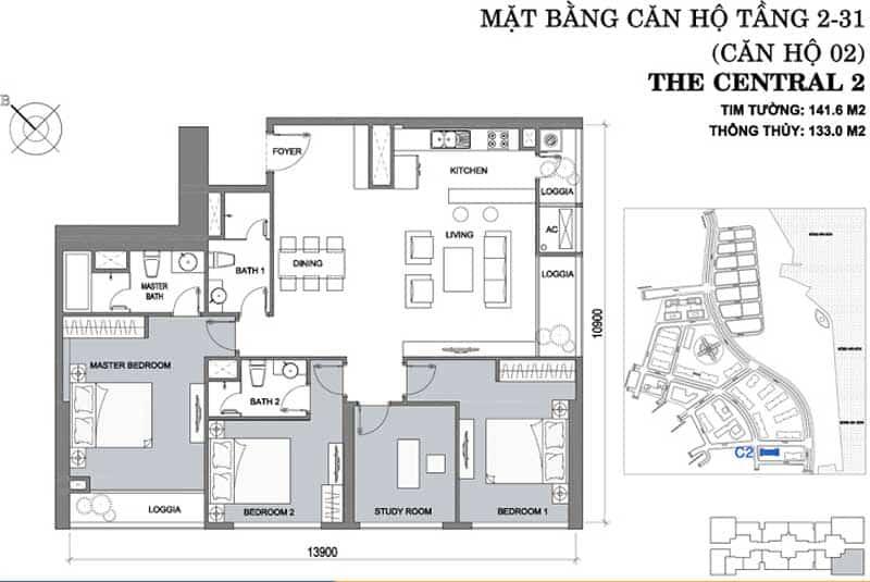 Mặt bằng căn hộ 4 phòng ngủ Vinhomes Central Park