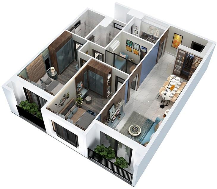 Mặt bằng căn hộ Hà Đô Centrosa