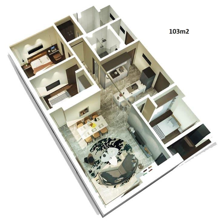 Mặt bằn thiết kế căn hộ Kingdom 3 phòng ngủ