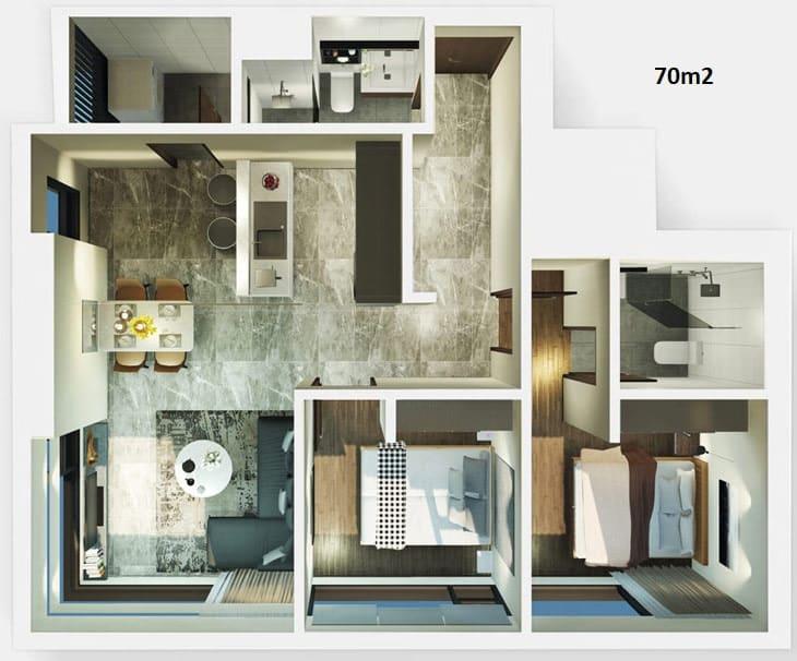 Mặt bằn thiết kế căn hộ Kingdom 2 phòng ngủ