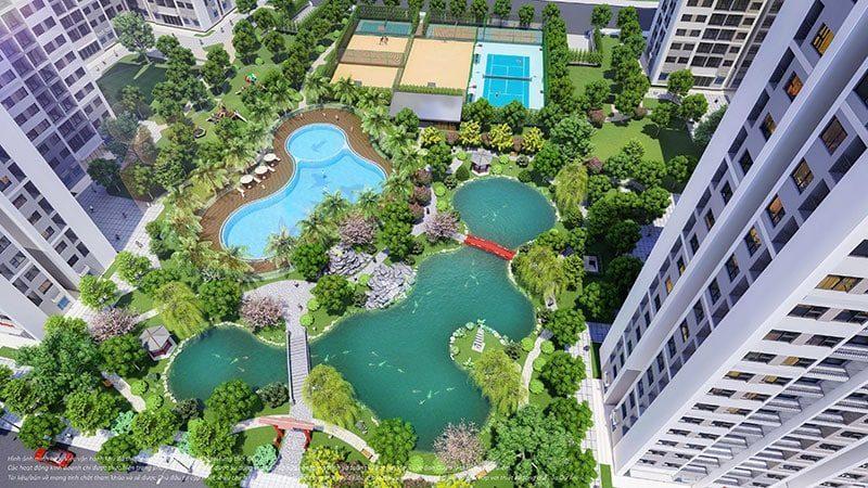 Vườn phong cách Nhật Bản với nhiều mảng xanh