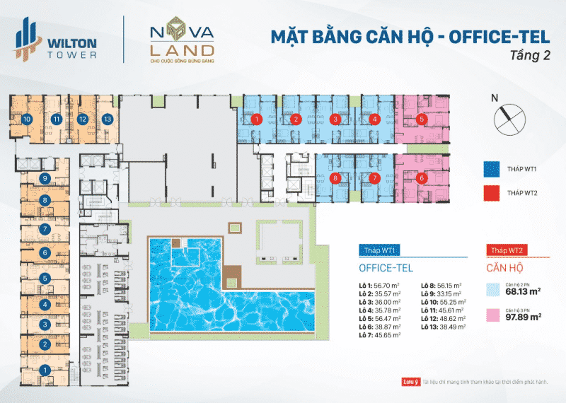 Mặt bằng Officetel Wilton Tower tầng 2