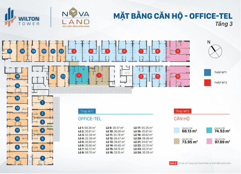 Mặt bằng Officetel Wilton Tower tầng 3