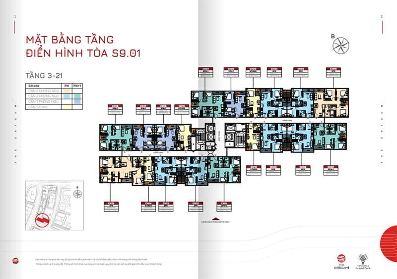 Mặt bằng tầng điển hình tòa S9.01 tầng 3-21