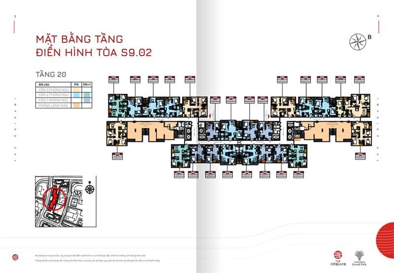 Mặt bằng tầng điển hình tòa S9.02 tầng 20
