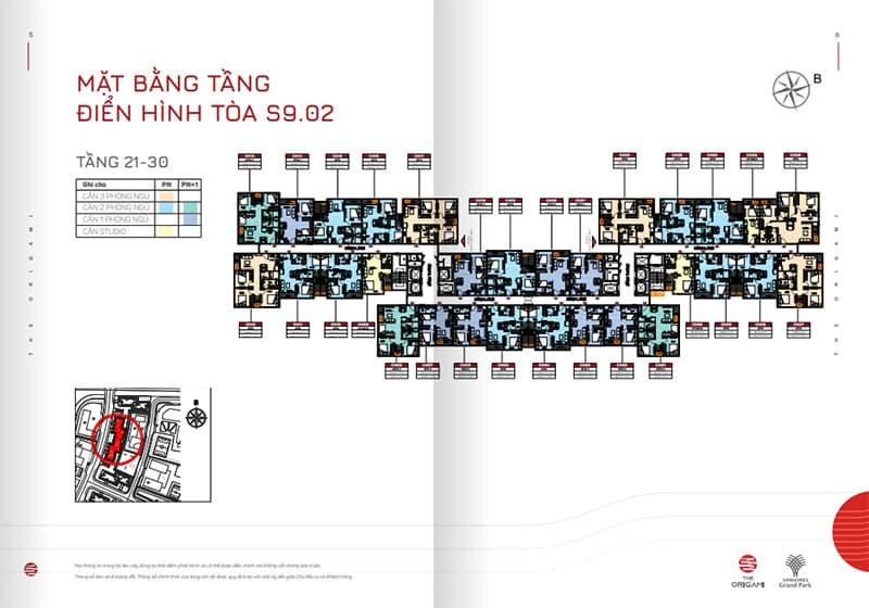 Mặt bằng tầng điển hình tòa S9.02 tầng 21-30