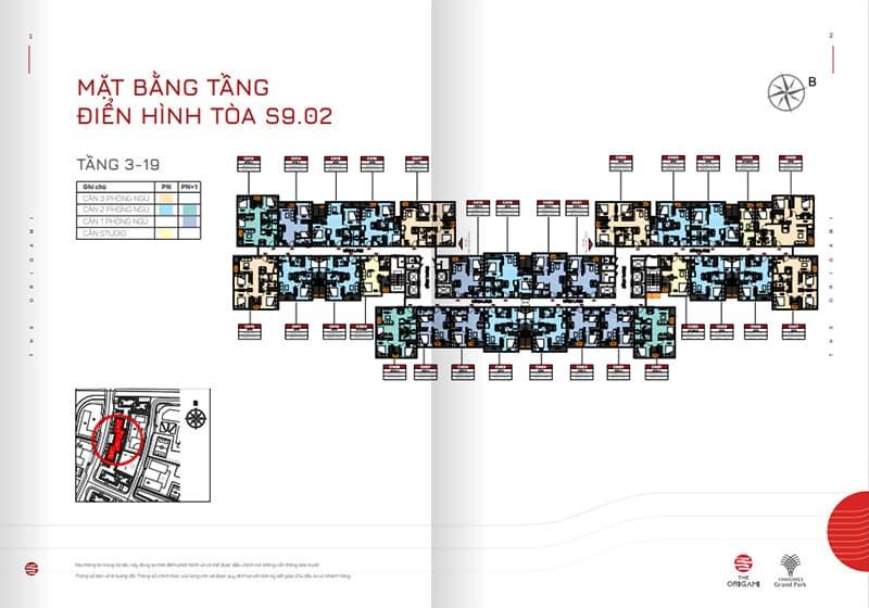 Mặt bằng tầng điển hình tòa S9.02 tầng 3-19
