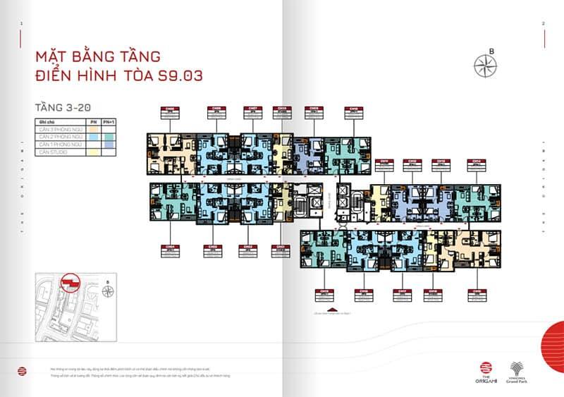 Mặt bằng tầng điển hình tòa S9.03 tầng 3-20