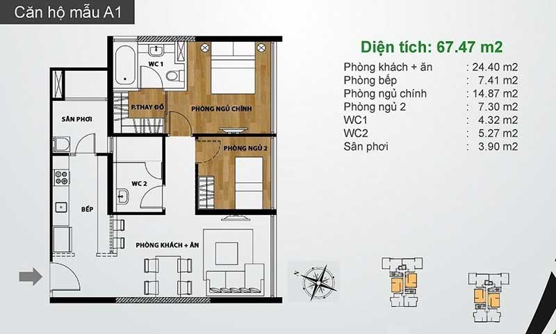 Mặt bằng căn hộ The Ascent cho thuê có 2 phòng ngủ